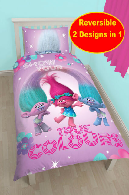 NEW DREAMWORKS TROLLS GLOW SINGLE DUVET QUILT COVER SET GIRLS PINK KIDS BEDROOM