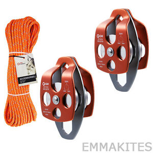 "Block and Tackle Pulley System Set with 7/16"" Double Braid Rope Lifting Hauling"