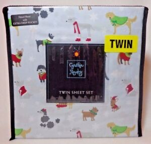 image is loading cynthia rowley christmas holiday dogs canines microfiber twin - Christmas Sheets Twin