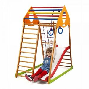 kids home wooden playground with climbing net children s slide for