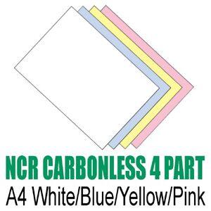 Set-di-25-x-A4-AUTOCOPIANTE-NCR-Duplicate-stampa-carta-Bianco-Blu-Giallo-Rosa