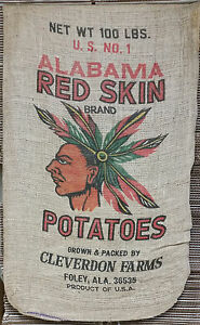 Vintage-100lb-Burlap-Potato-Sack-Original-1930-039-s-Design-Mint