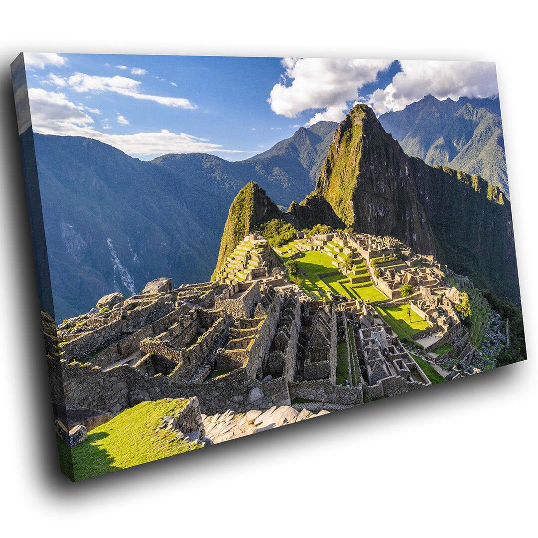 SC516 Machu Picchu Grün Mountain Landscape Canvas Wall Art Large Picture Prints