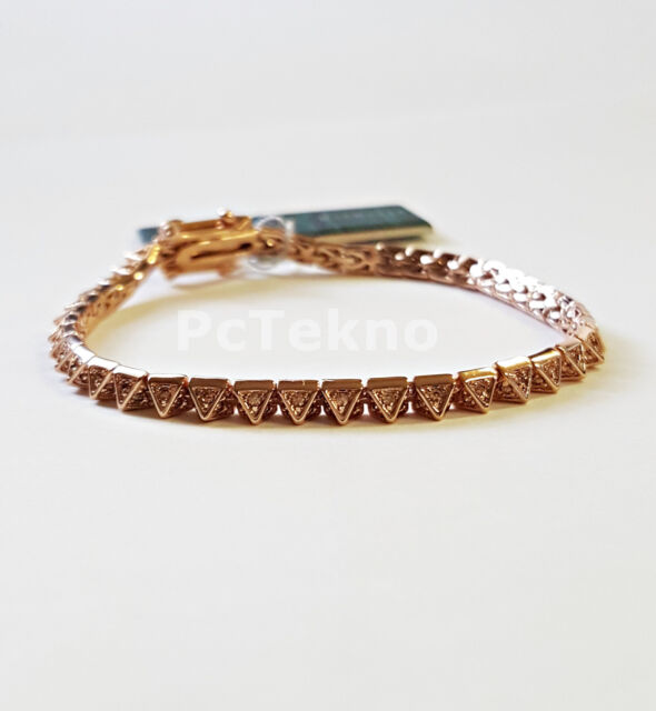 Eddie Borgo Rose-Gold Tone Pave Pyramid Tennis Bracelet $175 NWT