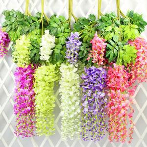 Artificial-Wisteria-Flowers-Vine-Silk-Wedding-Hanging-Pretty-Decor-Fake-Living