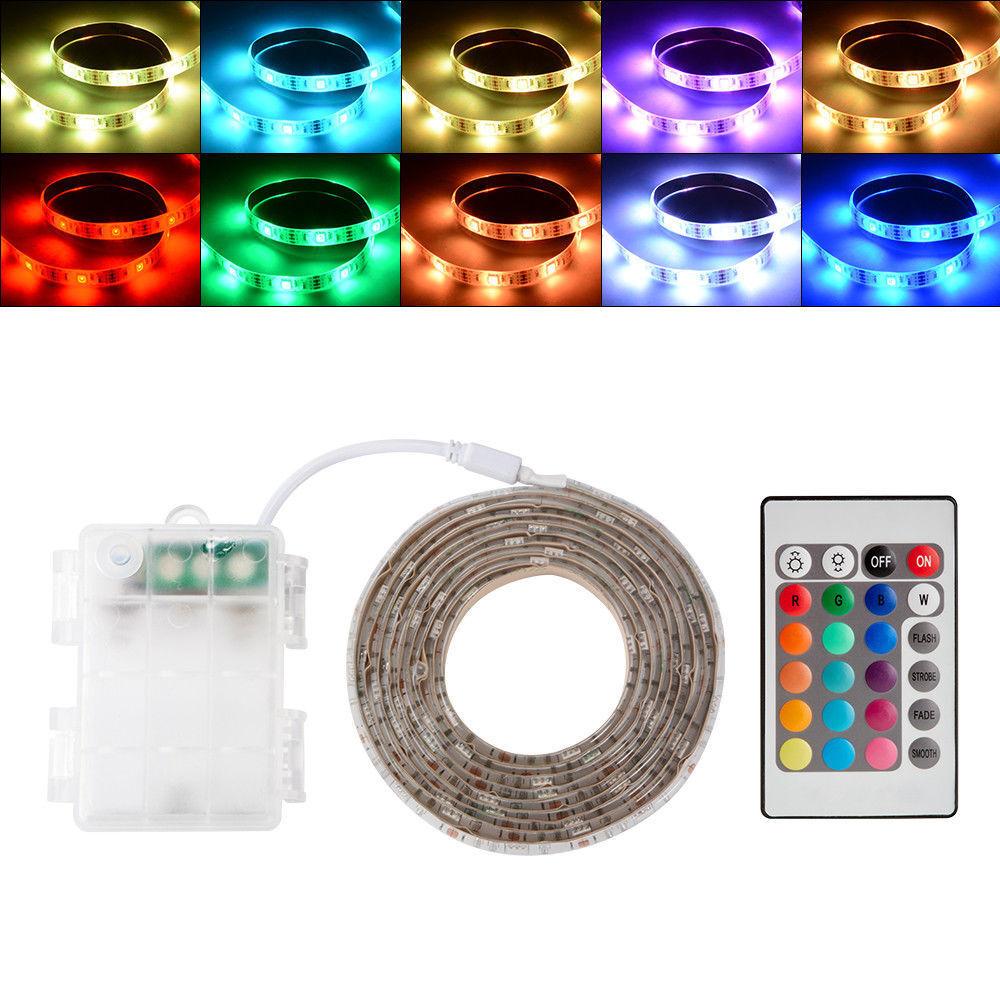 RGB SMD 5050 5V LED Strip Light Farbe Changing+Battery Box+24 key Remote Control