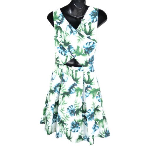 Ex Jack Wills White Green Tropical Print Skater Dress Size 4-14