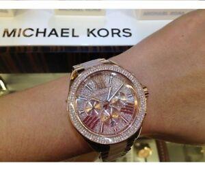 NEW-GENUINE-MICHAEL-KORS-MK6096-ROSE-GOLD-CRYSTALS-WREN-LADIES-WATCH-UK-STOCK