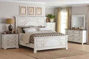 Details About Rustic 4 Pc White Wood Queen Bed Nightstand Dresser Mirror Bedroom Furniture Set