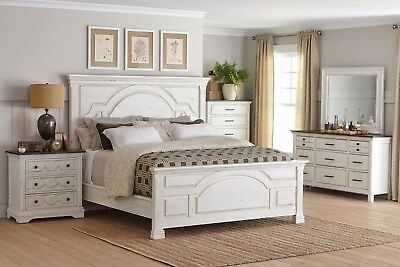 COUNTRY FARMHOUSE 4 PC WHITE WOOD KING BED N/S DRESSER BEDROOM FURNITURE  SET | eBay