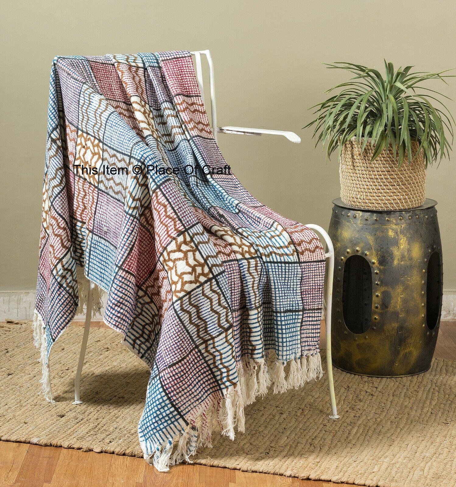 Indisch Blockdruck Überwurf Decke Schal Verpackungen Hand Unmittelbar Bevorstand