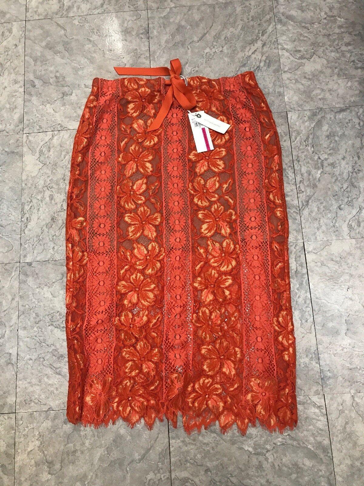 New Anthropologie Tracy Reese orange Lace Midi Skirt Size Medium African Tulip