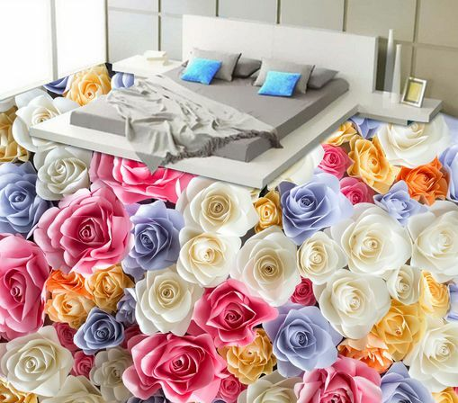 3D Beau Fleur Fond d'écran étage Peint en Autocollant Murale Plafond Chambre Art