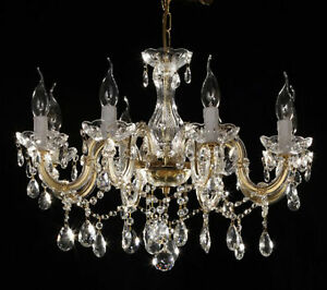 lustre baroque restaurant 8 feux pampilles chandelier dore ebay. Black Bedroom Furniture Sets. Home Design Ideas