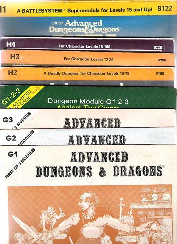 TSR Advanced Dungeons & Dragons G 1 2 3 & H 1 2 3 4 in buonissima condizione GIGANTI Bloodstone PASS
