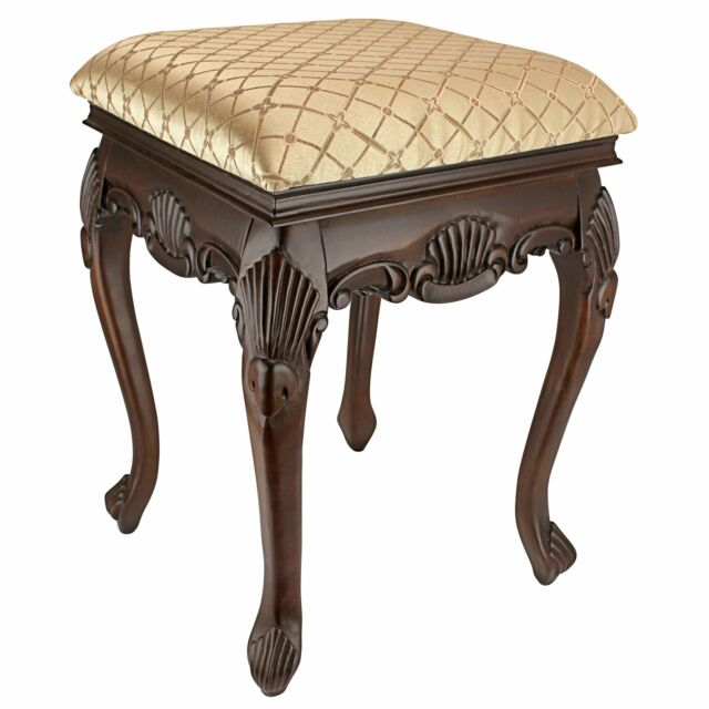 Black Tufted Back Vanity Stool Fabric Seat Espresso Wood Frame Bed Room Chair
