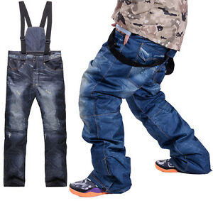 HOT-Outdoor-Waterproof-Men-039-s-Denim-Ski-Snowboard-Pants-Hiking-Windproof-Trouser