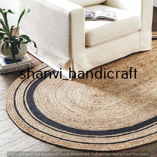 Braided Oval Rugs Jute 4x6 Feet Floors Rugs Bohemian Yoga Meditation Jute Carpet