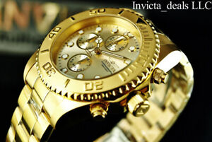Invicta-Men-039-s-44mm-Pro-Diver-Chronograph-Champagne-Dial-18K-Gold-Plated-SS-Watch
