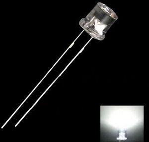 500PCS 5MM 2Pin Flat Top White LED Wide Angle Flat Head Light Lamp