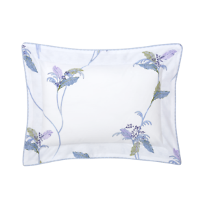 YVES DELORME FRANCE PLUMES COTTON PERCALE PILLOW SHAM IN PARred   LEAFY BRANCH