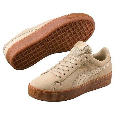 Puma Vikky Platform Leather Sneaker Women's Shoes 363287 14 Beige | eBay