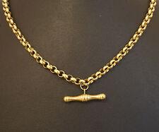"9Carat Yellow Gold 18"" Round Belcher Chain (4mm Width) w/TBar 21x5mm"