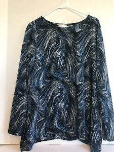 top-blouse-large-l-womens-blue-black-print-stretch-long-sleeves-casual