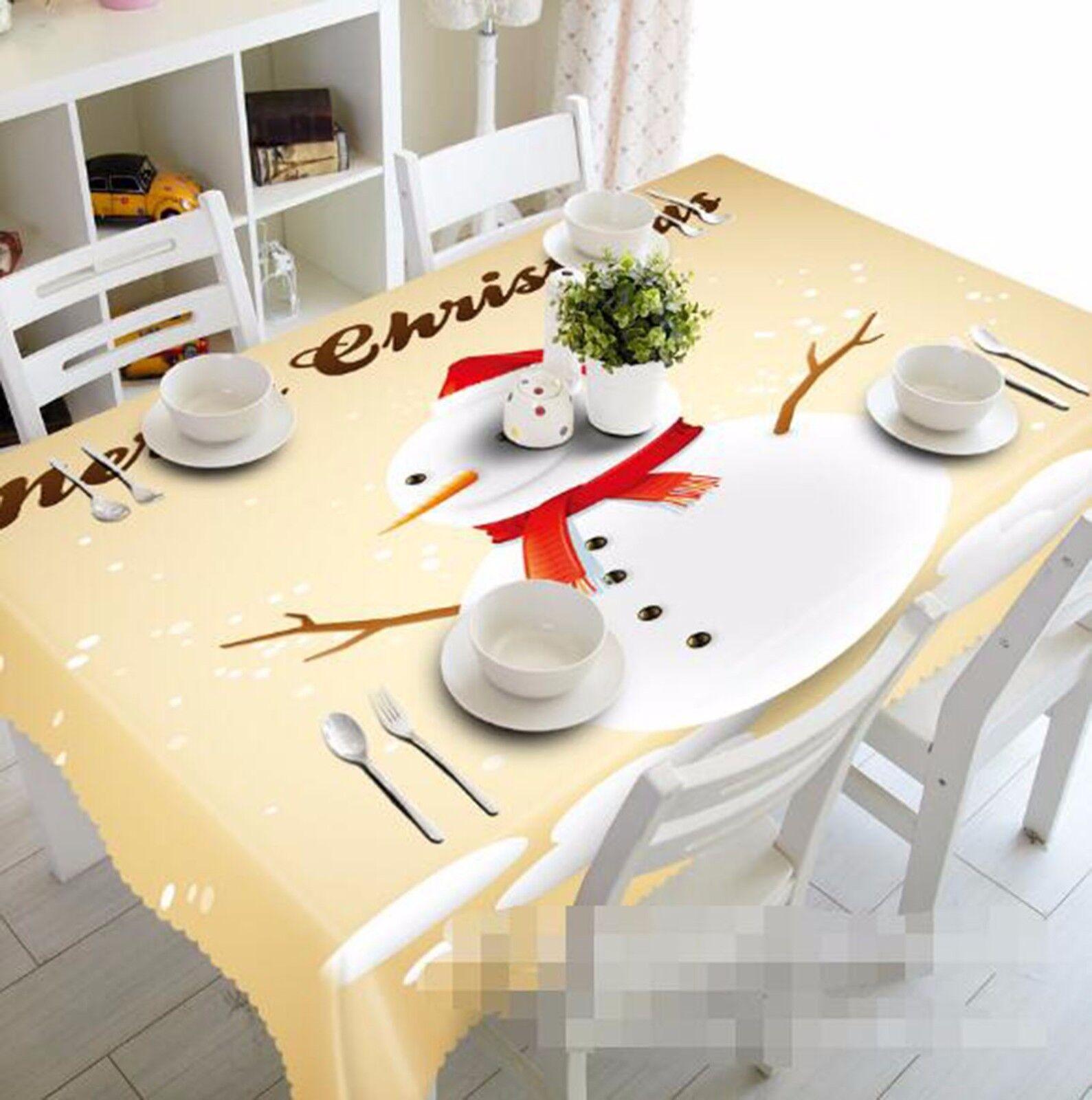 3D Bonhomme de neige 43 Nappe Table Cover Cloth fête d'anniversaire AJ papier peint Royaume-Uni Citron