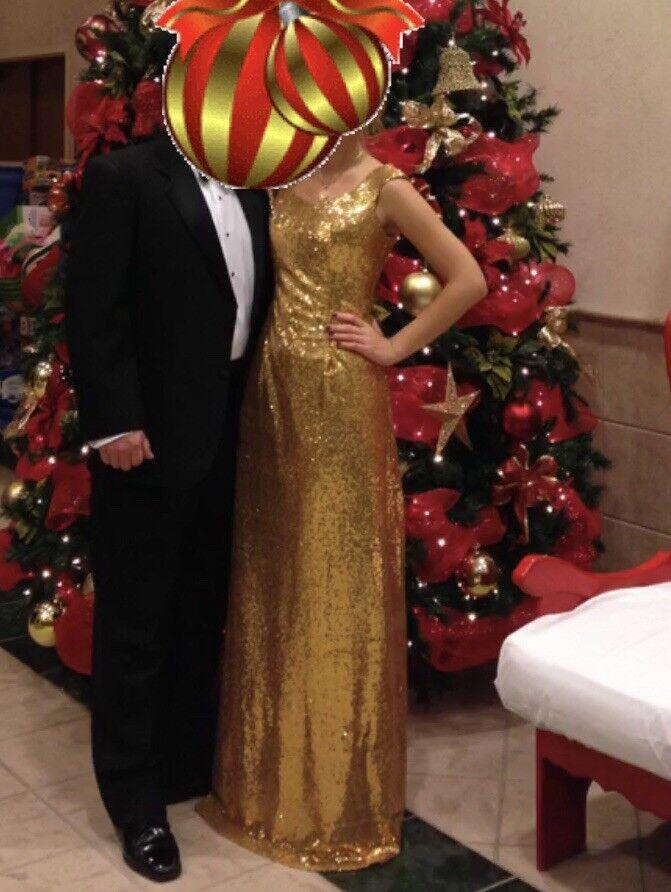 gold sequin long Christmas Ball Ball Ball gown floral party prom dress de130b