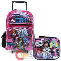 Monster High 16 Large School Roller Backpack With Lunch Bag 2pc Set- Glitter