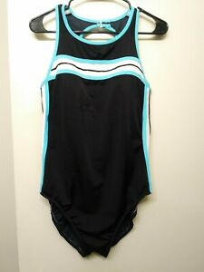 Miraclesuit-Womens-Swimsuit-16-High-Neck-Black-White-Blue