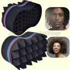 Double Barber Hair Brush Sponge For Dreads Locking Twist Coil Afro Curl Wave-US