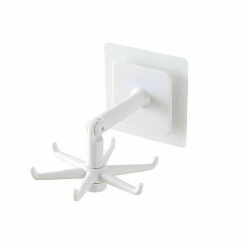 360° Rotate Rack Kitchen Storage Under Shelf 6 Hook Hanger Self-Adhesive Acces