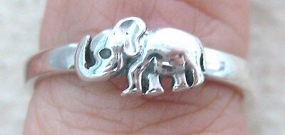 NEW 925 STERLING SILVER plain BABY ELEPHANT thick band ring size J L N P R T V X