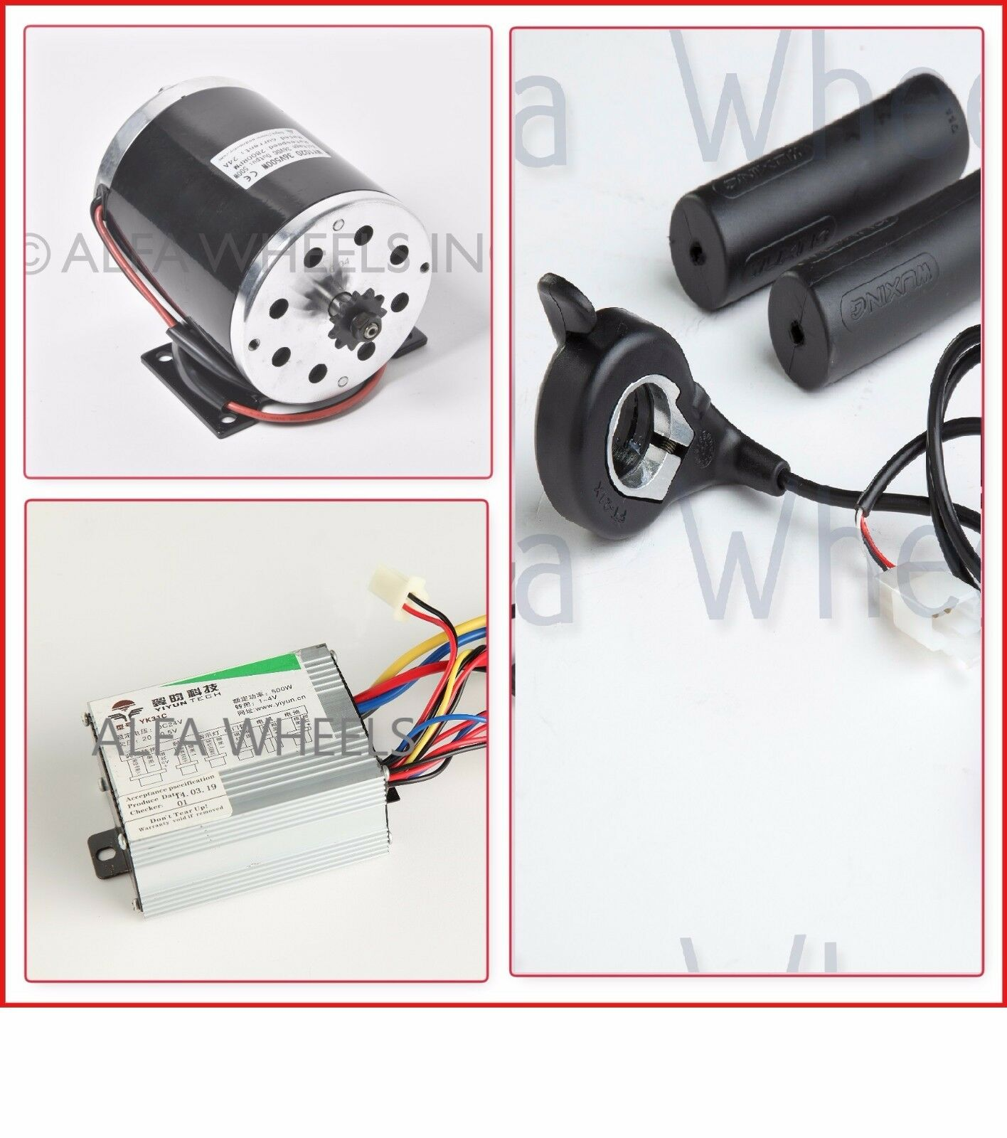 500 W 36 V DC electric 1020 motor kit w base speed control & thumb Throssotle