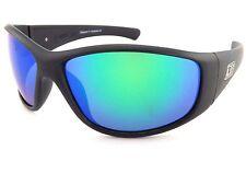 DIRTY DOG polarized RIDGE wrap Sunglasses Matte Black/ Green Mirror Polar 53451