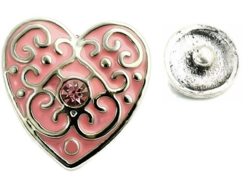 USA SELLER Interchangeable Button Snap Jewelry Pink Heart With Scrolls 18mm 191