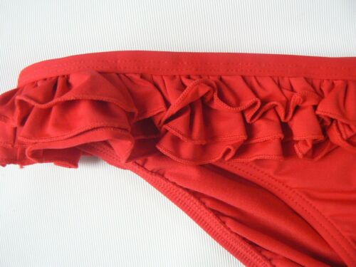 MYLEENE KLASS Red Ruffle Frilled Bikini Bottoms Briefs Swimwear Size 16 18 20