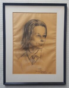 JULIET-PANNETT-1911-2005-original-signed-charcoal-drawing-Claire-dated-1969