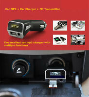 Mp3 Radio Fm Transmitter Car Charger With 2.1a Usb Port 3.5mm Aux-in Lcd Display