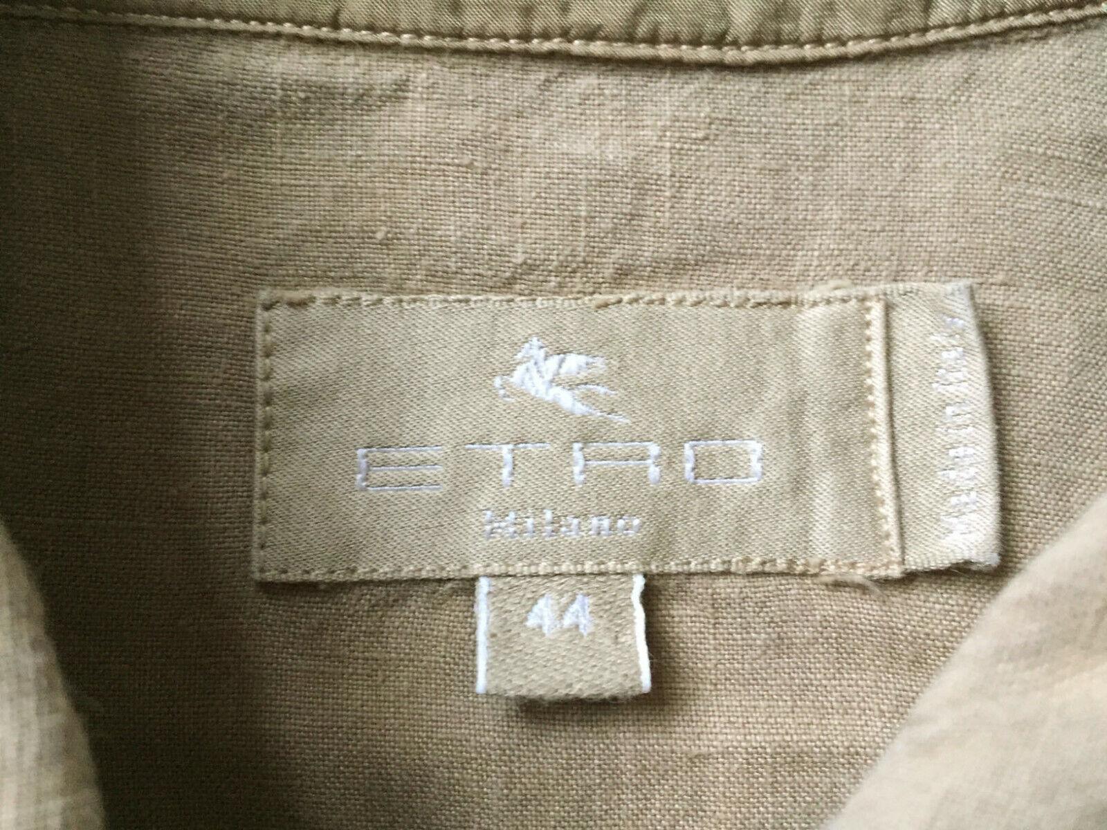 ETRO Womens Sz 44 / US 8 Tan Linen Jacket French … - image 2