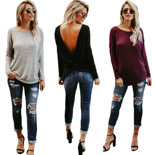 T-shirt manches longues femme automne mode lâche dos ouvert Tops Blouse S-XL New