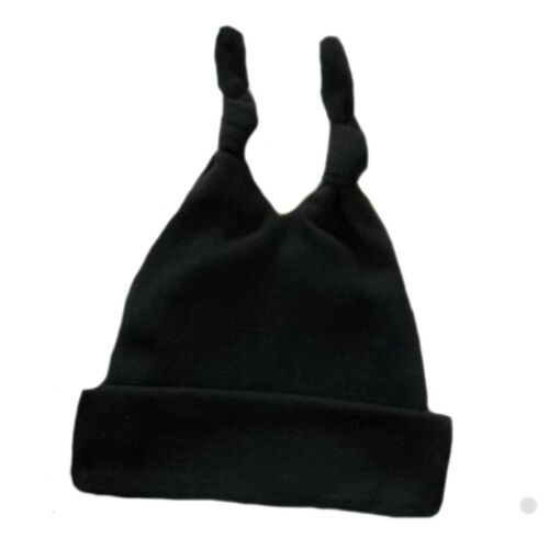 Black Ribbed Double Knotted Unisex Baby Hat 7 Preemie Newborn Toddler Sizes