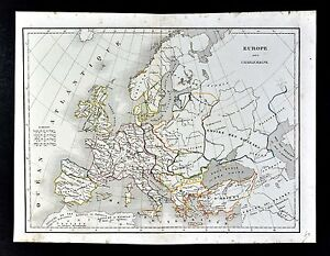 1830 Langlois Atlas Map - Europe - France Spain Italy Germany Britain Holland