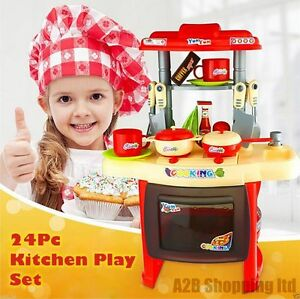 RED-24-PCS-ELECTRONIC-COOKING-PLAY-SET-KIDS-KITCHEN-TOY-CHILDRENS-MUSIC-amp-LIGHTS