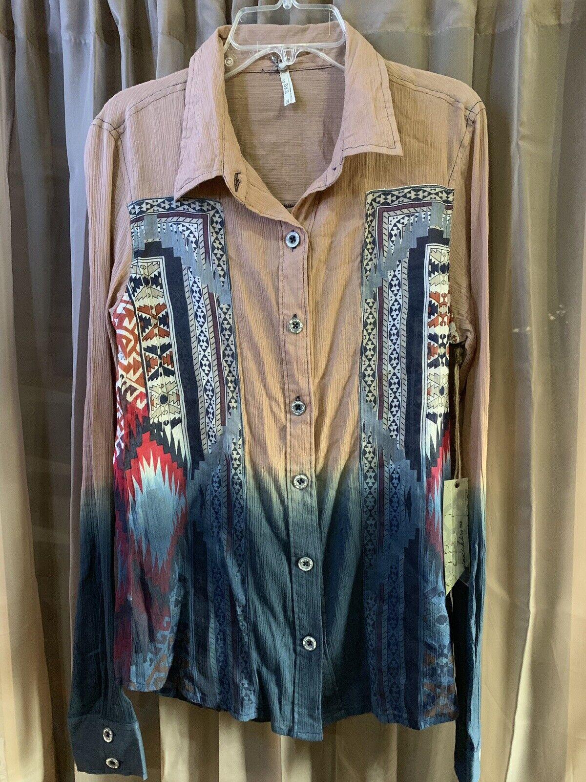 NWT Gimmicks By BKE damen's Blouse Long Sleeve Button Up Größe S