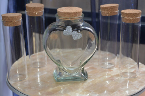 SAND CEREMONY SET HEART JAR WITH HEARTS & DIAMANTE DECOR WITH 4, 5 or 6 TUBES