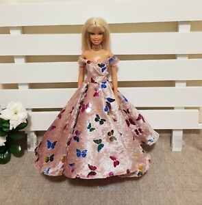 New-butterfly-printed-velvet-dress-gown-amp-shoes-for-your-Barbie-Doll-Au-Made