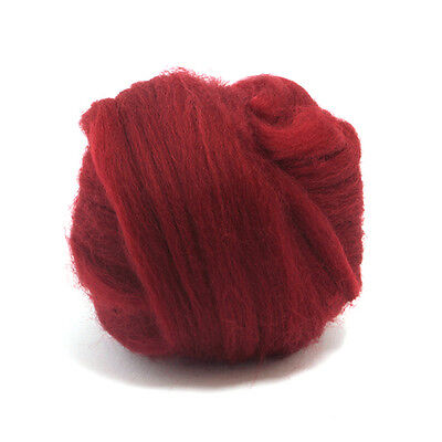 100g DYED MERINO WOOL TOP RUBY RED DREADS 64's SPINNING FELTING ROVING